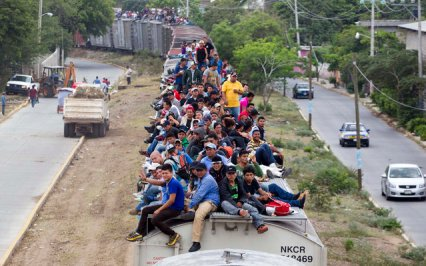 Illegal Aliens loading up to travel into the United States on (The 'Beast).